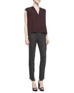 Michael Kors  Georgette Peasant Top & Samantha Skinny Flannel Pants