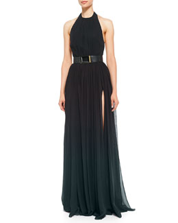 Elie Saab Halter-Top Gown & Lambskin Leather Belt