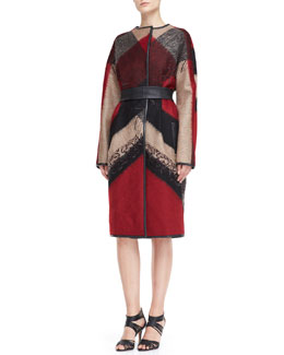 J. Mendel Embroidered Abstract-Plaid Wool-Blend Coat & Sleeveless Dress with Sheer Detail