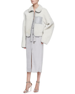 Altuzarra Short Shearling Fur Zip Jacket and Sleeveless Belted Satin Dress