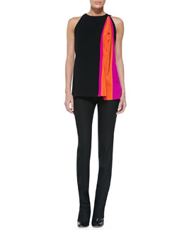 Altuzarra Contrast-Insert Sleeveless Crepe Top & Tropical-Wool Straight-Leg Pants