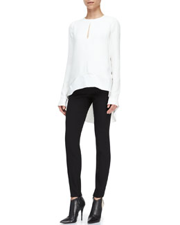 Narciso Rodriguez Long-Sleeve High-Low Blouse and Wool Crepe Pants