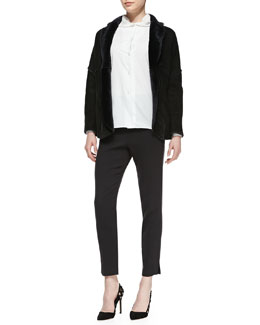 Shamask Reversible Shearling Fur/Suede Jacket, Gathered-Collar Poplin Blouse & Narrow-Leg Pull-On Ankle Pants