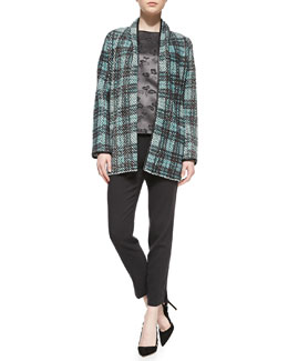 Shamask Long Leather-Trim Tweed Cardigan, Floral-Print/Solid Short-Sleeve Top & Narrow-Leg Pull-On Ankle Pants