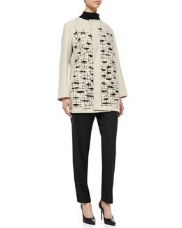Shamask Wool/Cashmere Embroidered Jacket, Funnel-Neck Half-Sleeve Sweater & Pull-On Narrow-Leg Ankle Pants