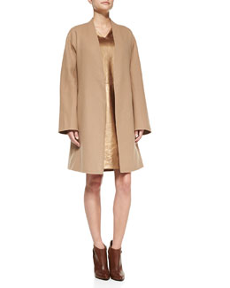 Shamask Double-Faced Cardigan Coat & Metallic Leather Cap-Sleeve Dress