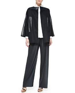 Shamask Leather-Patch Wool/Cashmere Jacket, Gathered-Collar Poplin Blouse & Pull-On Wool/Silk Pants