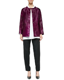 Shamask Calf Hair Cardigan Jacket, Collared Poplin Blouse & Pull-On Narrow-Leg Ankle Pants