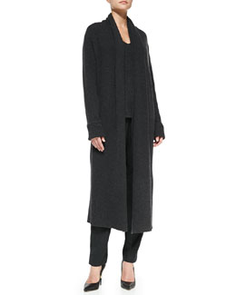 Shamask Long Ribbed Cashmere Knit Coat, Cashmere Low V-Neck Sweater & Pull-On Narrow-Leg Ankle Pants