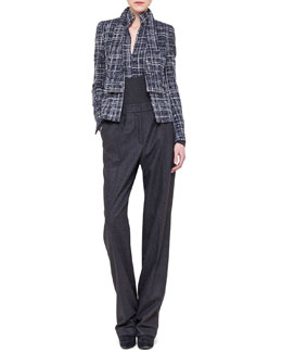 Akris Boucle Shawl-Collar Jacket, Boucle-Inset Top & Pleated Straight-Leg Flannel Pants