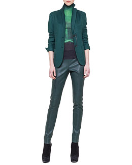 Akris Two-Button Multi-Pocket Jacket, Night Light Mock-Neck Top & Slim Stretch Napa Leather Pants