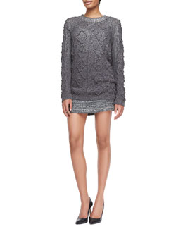 Tory Burch Shawn Wool-Silk Knit Tunic & Ada Striped Tweed Skirt