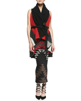 Alice + Olivia Keira Colorblock Knit Draped Vest & Tribal-Print Knit Maxi Dress