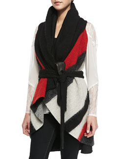 Alice + Olivia Keira Colorblock Knit Draped Vest & Lace-Inset V-Neck Tunic