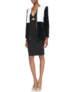 Alice + Olivia Pali Two-Tone Faux-Fur Jacket & Yve Formfitting Sleeveless Cutout Dress