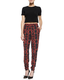 Alice + Olivia Short-Sleeve Crewneck Crop Top & Printed Pull-On Tapered Pants