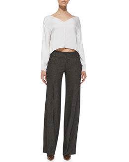 Alice + Olivia Drop-Shoulder Silk Crop Top & Onell Wide-Leg Trousers