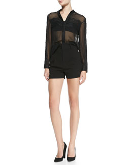 Alice + Olivia Vicka Sheer Chiffon/Lace Blouse & High-Waist Pleated-Front Shorts