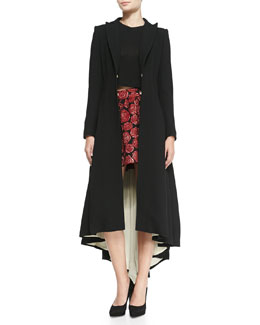 Alice + Olivia Bain Contrast-Lining Princess Coat, Short-Sleeve Crewneck Crop Top & Fizer Shimmery Rose Jacquard Skirt