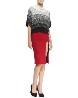 Alice + Olivia Florence Marbled Chunky Knit Sweater & Tani Front-Slit Knit Pencil Skirt