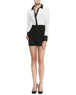 Alice + Olivia Rita Contrast-Trim French-Cuff Blouse & High-Waist Pleated-Front Shorts