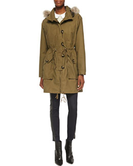 Tory Burch Dylan Fur-Collar Twill Anorak, Gabriella Lace/Knit Combo Top & Harlow Leather-Side Slim Jeans