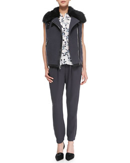 Rebecca Taylor RW Shearling Fur Vest, Geo-Print Silk Sleeveless Henley & Knit Pull-On Pants