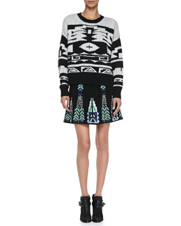 Elle Sasson Chiara Tribal-Pattern Knit Sweater & Teresa Embroidered A-Line Skirt
