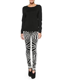Herve Leger Ane Signature Sportswear Top & Zebra/Chain-Print Jacquard Pants