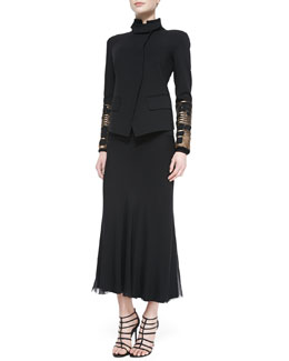 Donna Karan Embellished Convertible-Collar Jacket and Georgette Layered Bias Skirt
