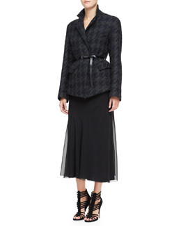 Donna Karan Belted Convertible Jacket & Georgette Layered Bias Skirt