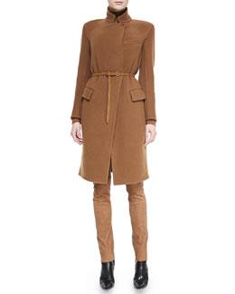 Donna Karan Belted Officer Coat, Turtleneck Top & Suede-Front Combo Pants
