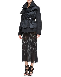 Donna Karan Double-Layer Puffer Jacket & Crystal Houndstooth-Embroidered Skirt