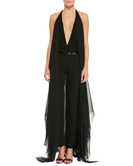 Donna Karan Chiffon-Wing Bodysuit, Slim Pants with Satin Hem & Polished Leather Belt