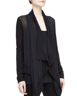 Donna Karan Sheer Drape-Front Cozy Cardigan & Scoop-Neck Tank