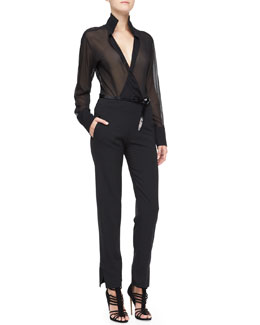 Donna Karan Sheer Long-Sleeve Blouse with Collar, Slim Pants with Satin Hem & Polished Calfskin Leather Belt
