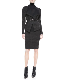 Donna Karan Sculpted Clutch Jacket, Turtleneck Top, Sculpted Straight Skirt & Embossed Leather Belt