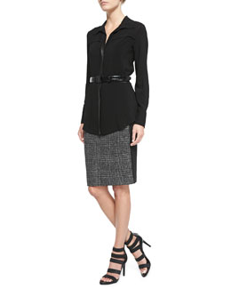 Donna Karan Long-Sleeve Button-Front Tunic Blouse, Straight Combo Skirt & Alligator-Embossed Leather Belt