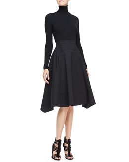 Donna Karan Long-Sleeve Turtleneck Top & Full-Skirt with Nylon Hem