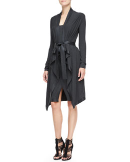 Donna Karan Long Cozy Cardigan with Leather Trim, Scoop-Neck Tank & Leather-Trim Draped Scissor Skirt