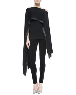 Donna Karan Cape with Leather Border, Scoop-Neck Tank & Structured Jersey Pants