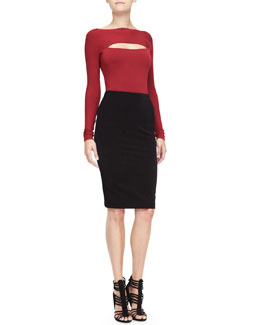 Donna Karan Long-Sleeve Peekaboo Top & Combo Pencil Skirt