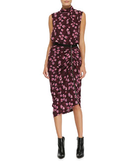 Band of Outsiders Draped Cherry-Blossom-Print Top & Gathered Asymmetric Skirt