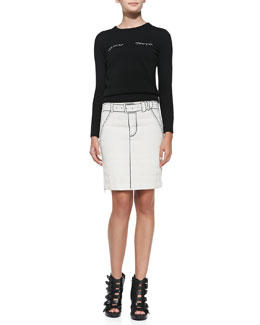 Band of Outsiders Eyelashes Long-Sleeve Knit Sweater & Tromp L'Oeil Printed Side-Zip Miniskirt
