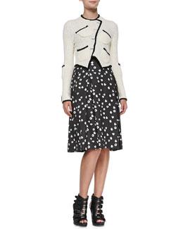 Band of Outsiders Tromp L'Oeil Asymmetric Knit Jacket & Raspberry-Print Pleated Sateen Skirt