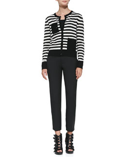 Band of Outsiders Striped Knit Pocket Cardigan & Straight-Leg Slit-Cuff Ankle Pants
