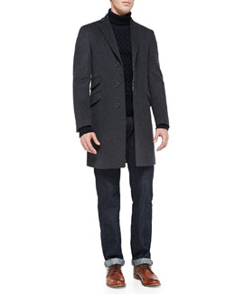 Etro Velvet-Collar Felt Overcoat, Wool Turtleneck Sweater & Dark-Wash Five-Pocket Jeans