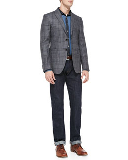 Etro Check Two-Button Blazer, Denim Patch Shirt & Dark-Wash Five-Pocket Jeans