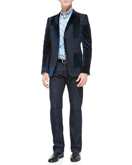 Etro Patchwork Velvet Jacket, Small-Paisley Print Poplin Shirt & Dark-Wash Five-Pocket Jeans