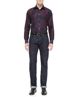 Etro Cotton Paisley-Print Shirt & Dark-Wash Five-Pocket Jeans